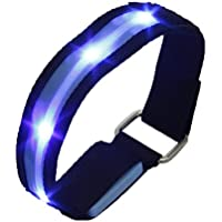 TOOGOO(R)High Visibility Running Cycling Adjustable Reflective LED Flashing Fabric Armband Blue