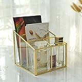 Desktop Storage Box Maschera di Vetro Contenitore di Tabella Quadrato Scatola di immagazzinaggio Maschera portapenne cosmetica 2 griglia medicazione (Color : Metallic, Dimensione : L)