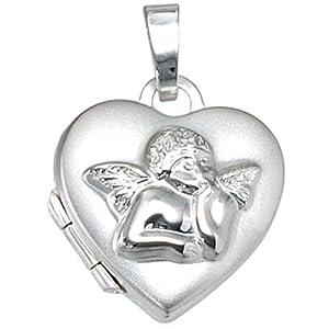Anhänger Medaillon Herz mit Schutzengel zum öffnen 925/- Sterling Silber 14 x 14 mm inkl. Schlangenkette Ø 1,4 mm mit Karabiner