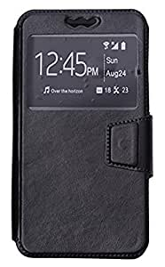 BKDT Marketing Leather finish Flip Cover Case Stand Diary Style for MICROMAX A108 Canvas L with Dislay Window and Stand - Black