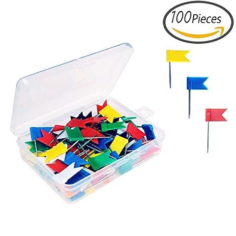 Senkary 100 Pcs Map Flag Push Pins Map Tacks Office Pins with Plastic Storage Box, Assorted 7 Colors
