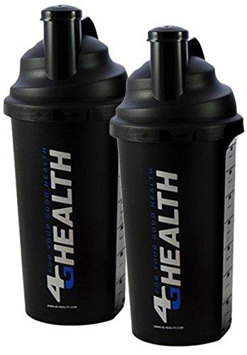 Doppelpack Eiweiß Shaker schwarz 4G Health + Schlagsieb - Eiweißshaker - Mixer - Cocktailshaker (schwarz, 2x 700ml)
