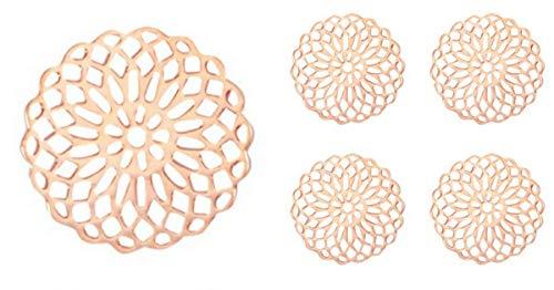 Sadingo Kleine Filigrane Messing Bohemian Mandala Schmuckverbinder, Anhänger - 5 Stück - 15 mm - Farbe wählbar - DIY, Auswahl:Roségold
