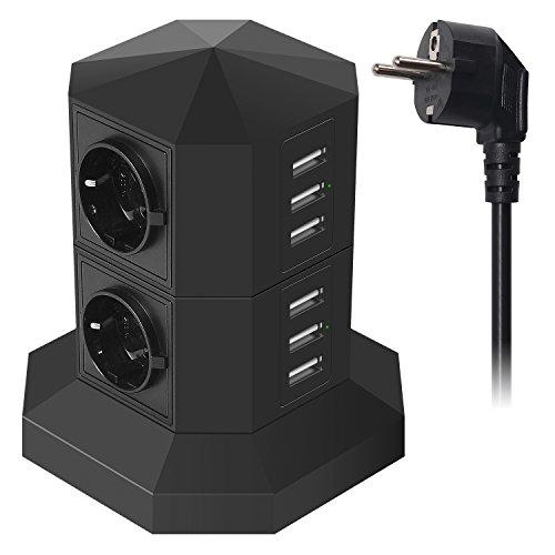JZBRAIN USB Steckdosenleiste Überspannungsschutz mit 6 USB-Ports 4 Fach Einzeln Schaltbar Mehrfachsteckdose smartes und schnelles Aufladen, Steckdosenturm mit 2 m Verlängerungskabel (schwarz) (Stromkabel Kindle Lang)