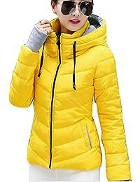 Guiran Mujer Abrigos Plumas Corto Chaquetones con Capucha Cazadoras Invierno Cálido Espesar Slim Fit Amarillo M