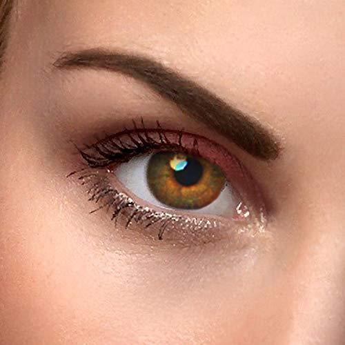 """2x Farbige Kontaktlinsen""""Haselnuss Braun"""" - 2x hazelnut braune Kontaktlinsen ohne Stärke + gratis Kontaktlinsenbehälter"""