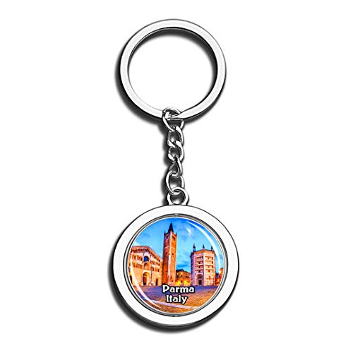 3D Kristall Kreative Schlüsselbund Spinning Runde Edelstahl Schlüsselanhänger Ring Travel City Souvenir Collection ()