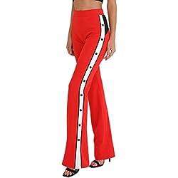 Nuevo!! Pantalones De Pierna Ancha con Aberturas En Los Laterales, Rayas Y Botones Anchos (M, Rojo)