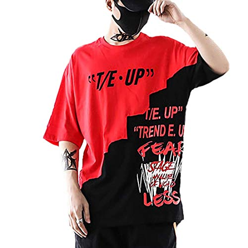 Personalisierter Neues T-shirt (XIAOYAO Herren T-Shirt Crew Neck Smiley T-Shirt (Rot, L))
