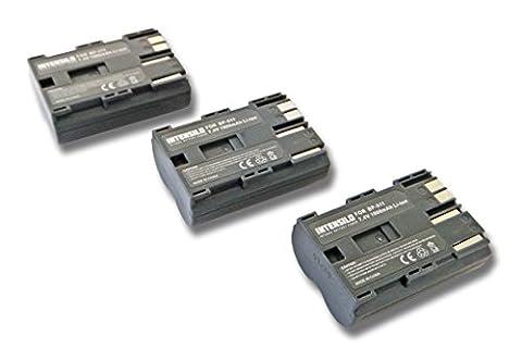 Lot 3 batteries Li-Ion INTENSILO 1900mAh 7.4V pour appareil photo caméscope Canon Powershot G1,G2,G3, G5,G6,Pro 1,Pro 90is comme BP-508, BP-511,BP-535