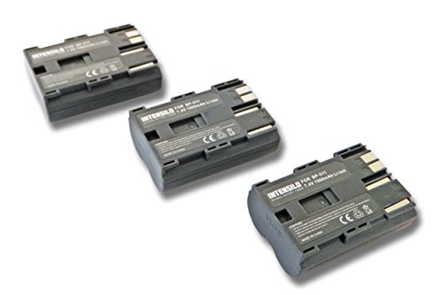 INTENSILO 3X Li-Ion Akku 1900mAh (7.4V) für Kamera Camcorder Video Canon Optura-Serie, Powershot-Serie, ZR-Serie wie BP-508, BP-511, BP-535. -