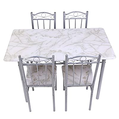 Amazingdeal365 Table and Chairs Sets Kitchen/Dining Table & 4 Chairs - inexpensive UK light shop.