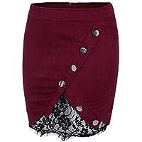 Gusspower Mini Falda Corta Elegante con Encaje y Cremallera botón Ropa de Mujer Faldas Bohemias Verano Faldas Lápiz Bodycon Mujer Faldas