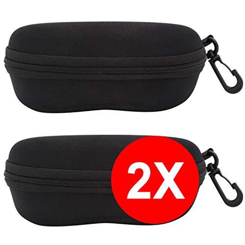 TBOC® Pack: Brillenetui Hartschale für Gürtel - (Zwei Einheiten) Lesebrille Sonnenbrille Sportbrille Groß Modern Leicht Design mit Haken zum Umhängen mit reißverschluss Auto Tasche Damen Herren Kinder