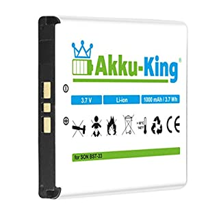 Akku-King Battery for Sony-Ericsson K800i, K530i, K550i, K630i, K660i, K800i, K810i, P990i, W850i - replaces BST-33 - Li-Ion 1000mAh