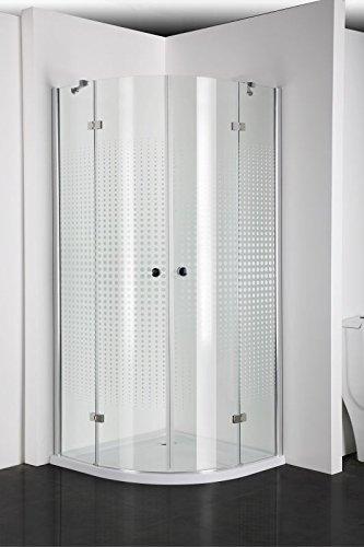 Sanotechnik Rundduschkabine mit Türöffnung in der Mitte - Maße: 90 x 90 x 195 cm (L x B x H)