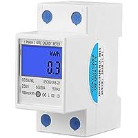 Medidor de energía, Keenso Pantalla de retroiluminación Monofásico Medidor de energía, Watt KWh Meter Montaje en riel DIN 5-32A DDS528L-230V 50Hz