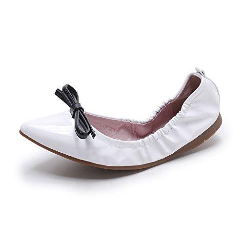 VogueZone009 Femme Verni Tire Pointu à Talon Bas Couleur Unie Chaussures à Plat Blanc