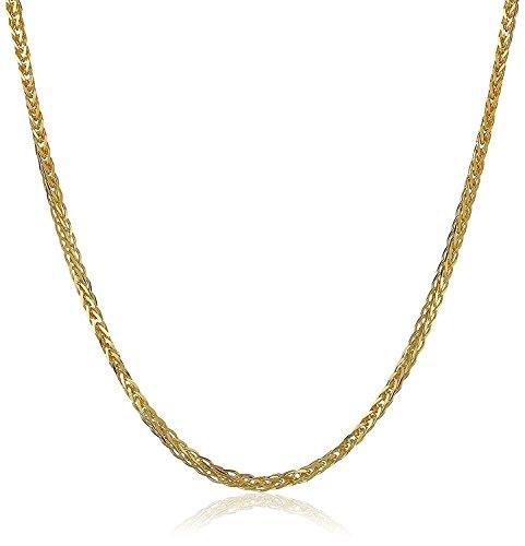 18 Karat 750 Gold Diamantschliff Spiga Weizen Gelbgold Kette - Breite 1.50 mm - Länge wählbar (50 CM) (Diamant-halskette 1 2 Karat)