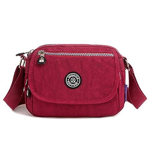 TianHengYi Mini Water Resistant Cross-body Bag Lightweight Nylon Travel Messenger Bag for Girls Claret-red