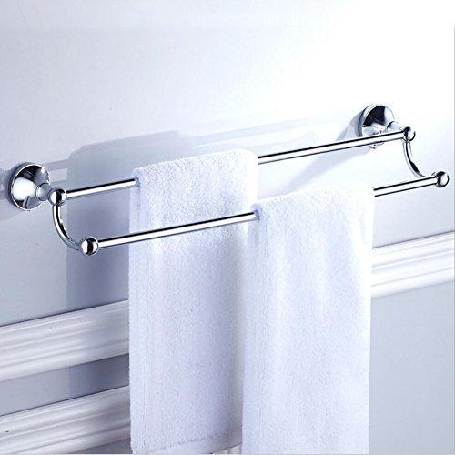 BOATX Retro Bad Doppel-Handtuchhalter,Wand-Handtuchstangen,60cm,Doppelschicht,Badetuchstange Badezimmer Badetuchhalter aus Messing (Chrom) (Retro-chrom-finish)