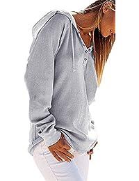 CHRISTYLE mujer Botón de manga larga camiseta ocasional suéter con capucha ...