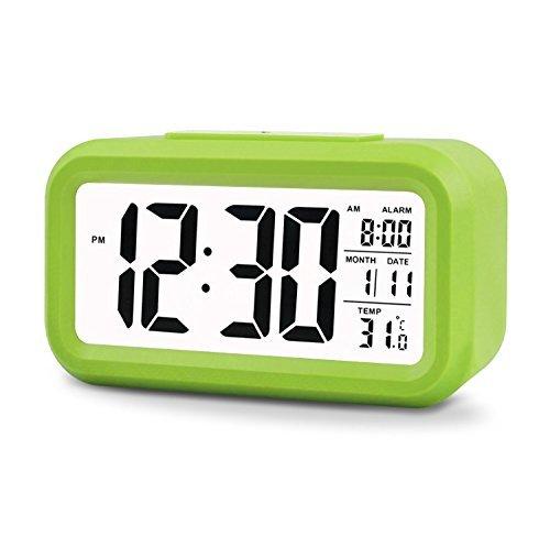 Despertador Reloj con alarma de 5,3 pulgadas - Despertador LED con información de fecha, función snooze, sensor luminoso y luz nocturna (Green)