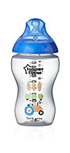 Tommee Tippee 42269787 Closer To Nature Biberon Decorato 340 ml (1 Pezzo), Blu