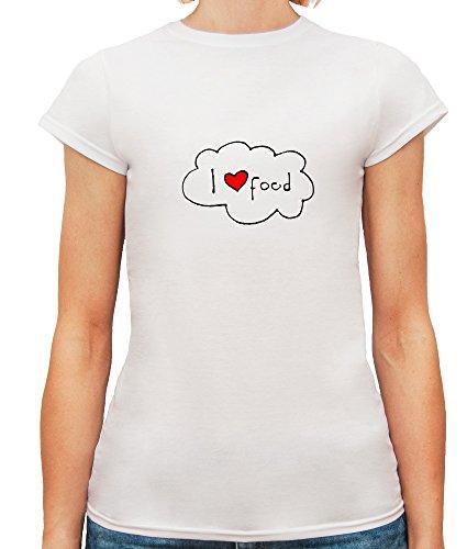 Mesdames T-Shirt avec I Love Food Illustration Phrase imprimé. Blanc