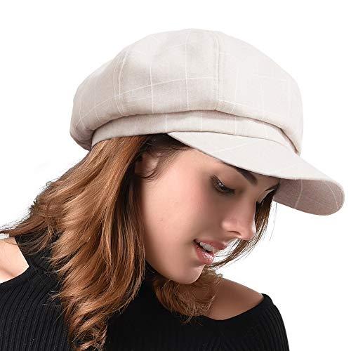 FURHATMALL Newsboy Cap für Damen, Frühjahr, Sommer, dünn, Baumwolle, Leinen, Gatsby-Visier - Beige - M (56/57 cm)