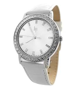 Lip - 10910212 - Montre Femme Acier - Quartz Analogique - Strass - Cadran Argent - Bracelet Cuir Blanc