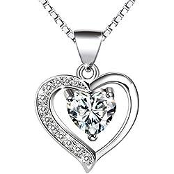 Collier, Amilril Argent Sterling 925 Collier Coeur Pendentif, Anniversaire, Mariage, Noël Cadeau Bijoux
