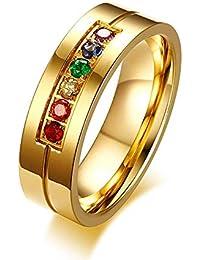 YABEME Acero de 6 mm Chapado en Oro de joyería de Acero del Arco Iris del Orgullo Gay de circonio cúbico Banda…