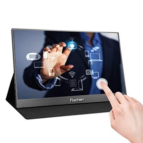 Tragbarer Touch Monitor 15,6 Zoll Type-C 1920X1080 HD Touchscreen Tragbarer Monitor with USB C/HDMI Video Input IPS-Anzeige für PS4 Xbox Nintendo PC Mobiltelefon Laptop, Prechen