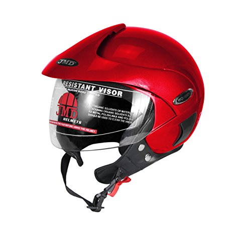 JMD Wonder With Peak Open Face Helmet (L) Glossy Red