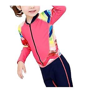 PanpA Perfezionare Muta per bambini a maniche lunghe per bambini Muta solare per bambini per sport acquatici (rossa)