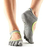 Toesox Full Toe Bellarina Calcetines de Yoga, Unisex Adulto, Gris (Heather) / Verde (Lime), L