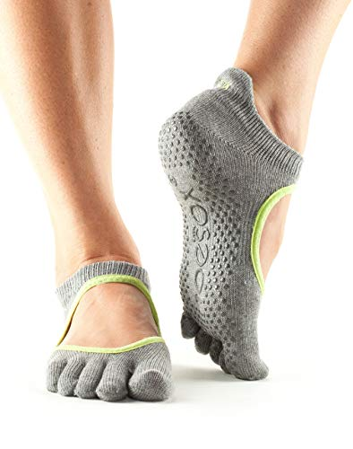Toesox Full Toe Bellarina Yoga-Socken, Unisex Erwachsene S Grau (Heather) / Grün (Lime) -