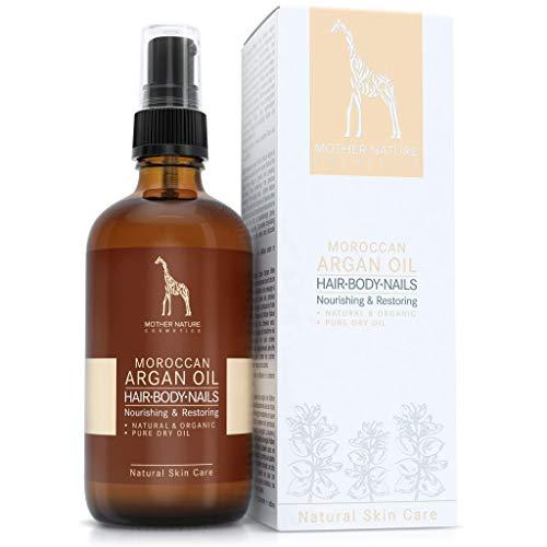 BIO-Arganöl - NATURKOSMETIK VEGAN - 100ml von Mother Nature Cosmetics - hochwertig und schonend kaltgepresst, aus handverlesenen Argannüssen - traditionelles Naturprodukt für Haare, Haut, Nägel