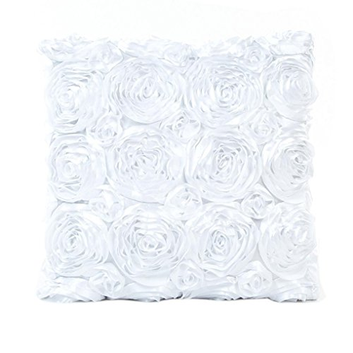 BeautyTop 43x43 cm Rose Kissen Sofa Taille Throw Kissenbezug Home Decor Kissenbezug (Weiß)