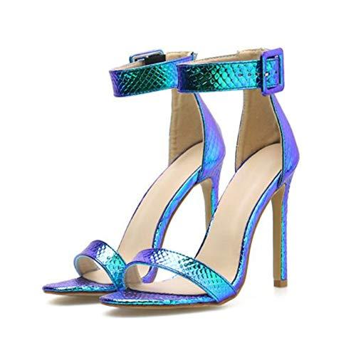 Damen Frauen Absatz Sandalen Frauen Stiletto High Heel Sandaletten Schlange Muster Knöchelriemen Schnalle öffnen Zehe Abend Schuhe, Blau, Silber,Blue,EU39/UK6