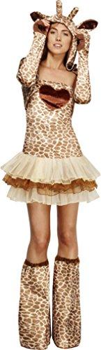 Fever, Damen Giraffen Kostüm, Tutu-Kleid mit abnehmbaren Trägern, Jacke mit Tierkapuze und Überstiefel, Größe: S, (Teufels Damen Großbritannien Kostüm)