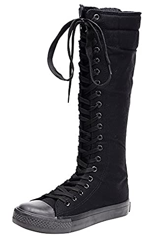 Odema Women Canvas Lace UP Flat Sneaker Boots With Colorful shoelaces