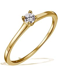 Goldmaid Solitär Ring Jana 585 Gelbgold echter Brillant 0.05 ct. Qualität VS / Top Wesselton
