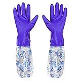 Krystallove Guanti in Silicone con Washer Resistenti al Calore, per Pulizia, casa, lavastoviglie, Lavaggio Auto, Cura degli Animali Violett