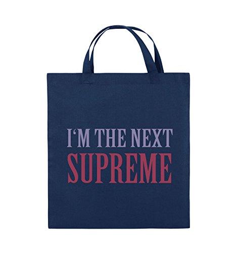 Comedy Bags - I'm the next supreme - Jutebeutel - kurze Henkel - 38x42cm - Farbe: Schwarz / Weiss-Neongrün Navy / Violet-Fuchsia