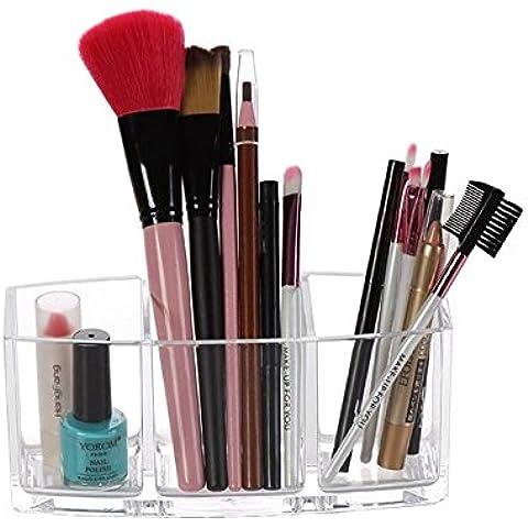 Meshela acrílico pincel maquillaje organizador | 3compartimentos