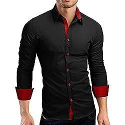 JiaMeng Polos Manga Larga Hombre Camisa de Vestir de Corte Slim sólida Formal Informal(Negro,L)