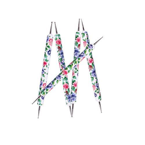 Doppelbohrer mit Punktbohrer,Jaerio 5 STÜCKE 2 Way Kristall Punktierung Maniküre Werkzeuge Malerei Dot Pen Nail art Paint Set NE 2019