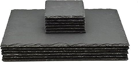 Ensemble de sets de table carrés / rectangulaires en ardoise naturelle - 6 sous-verres et 6 sets de table